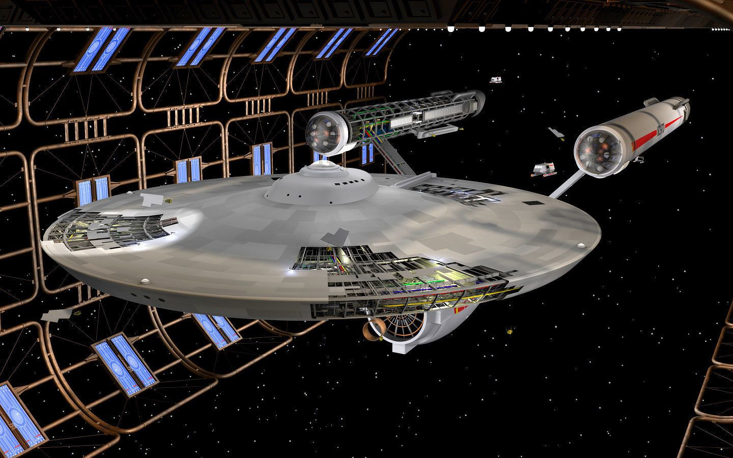 Constitution-class USS Enterprise (NCC-1701) in Spacedock for battle damage repairs