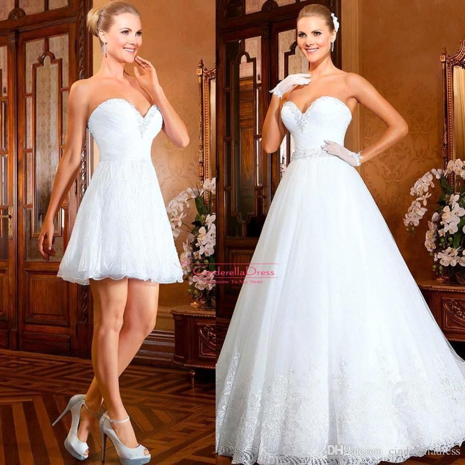 2015 bling ball gown short wedding dresses with detachable