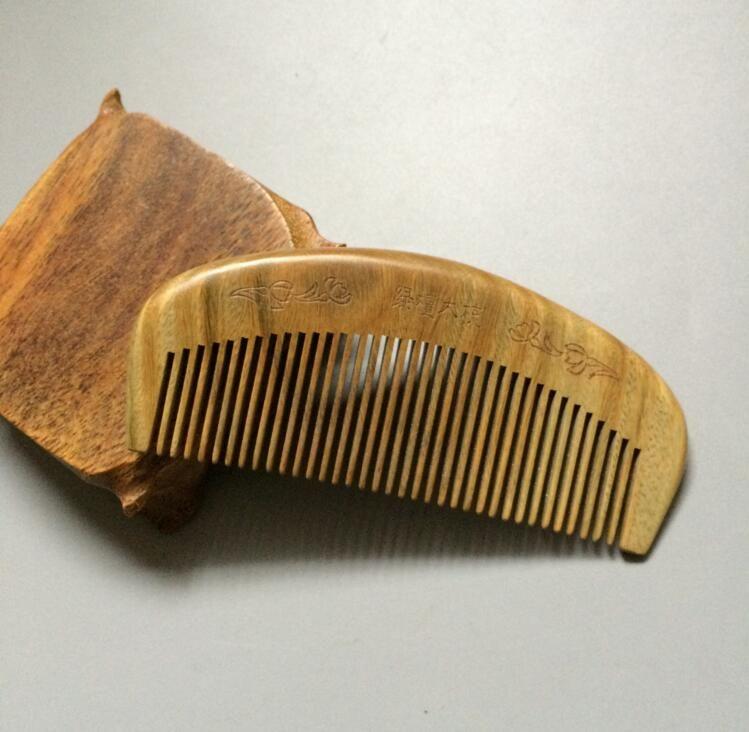 Brasil Naturales de sándalo Verde Peine De Madera de Masaje de pelo Cepillo de Pelo Peine De Madera peine de Dientes Anchos No-estática cepillo para el cabello masajeador