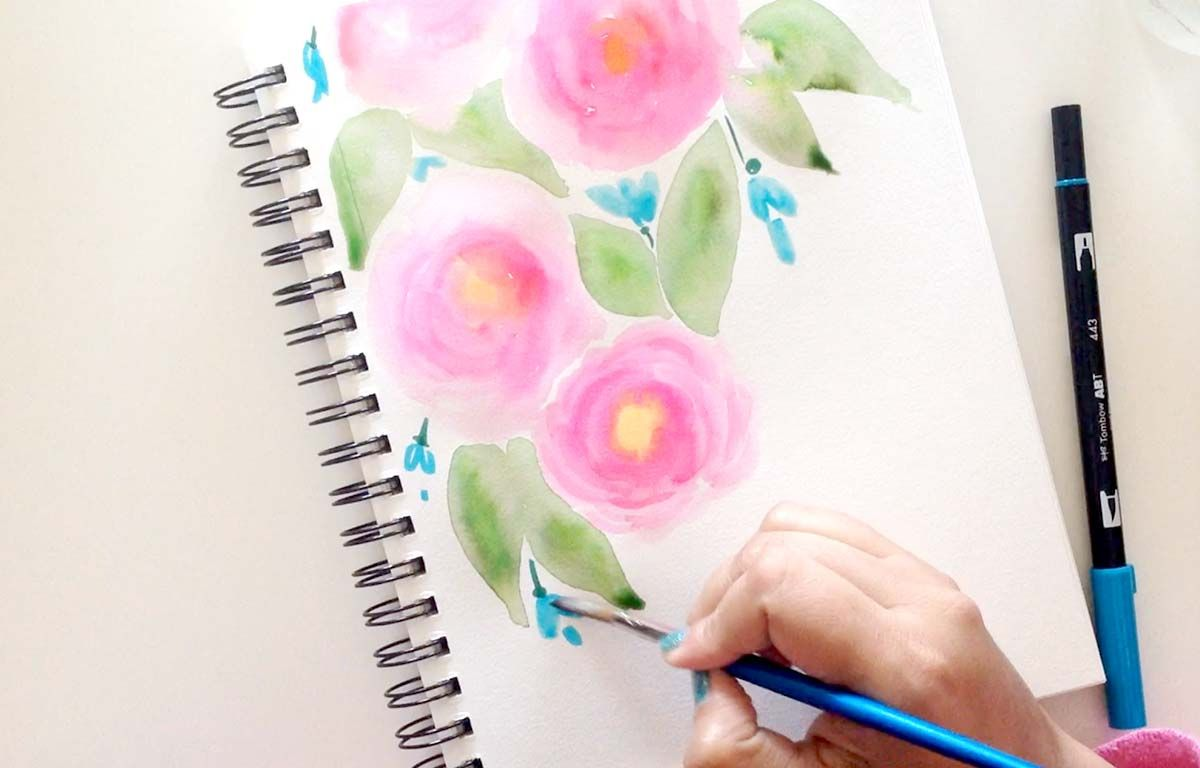 Watercolor Roses Tutorial Watercolor Rose Watercolor Brush Pen