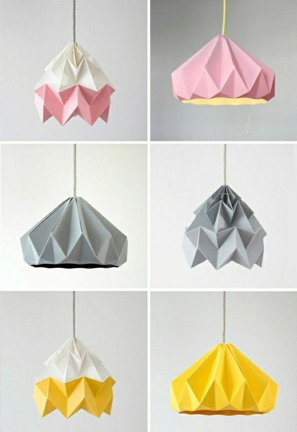 Studio Snowpuppe Moth Paper Origami Lamps In Pink And White Grey Gold Yellow Chestnut Lampshade