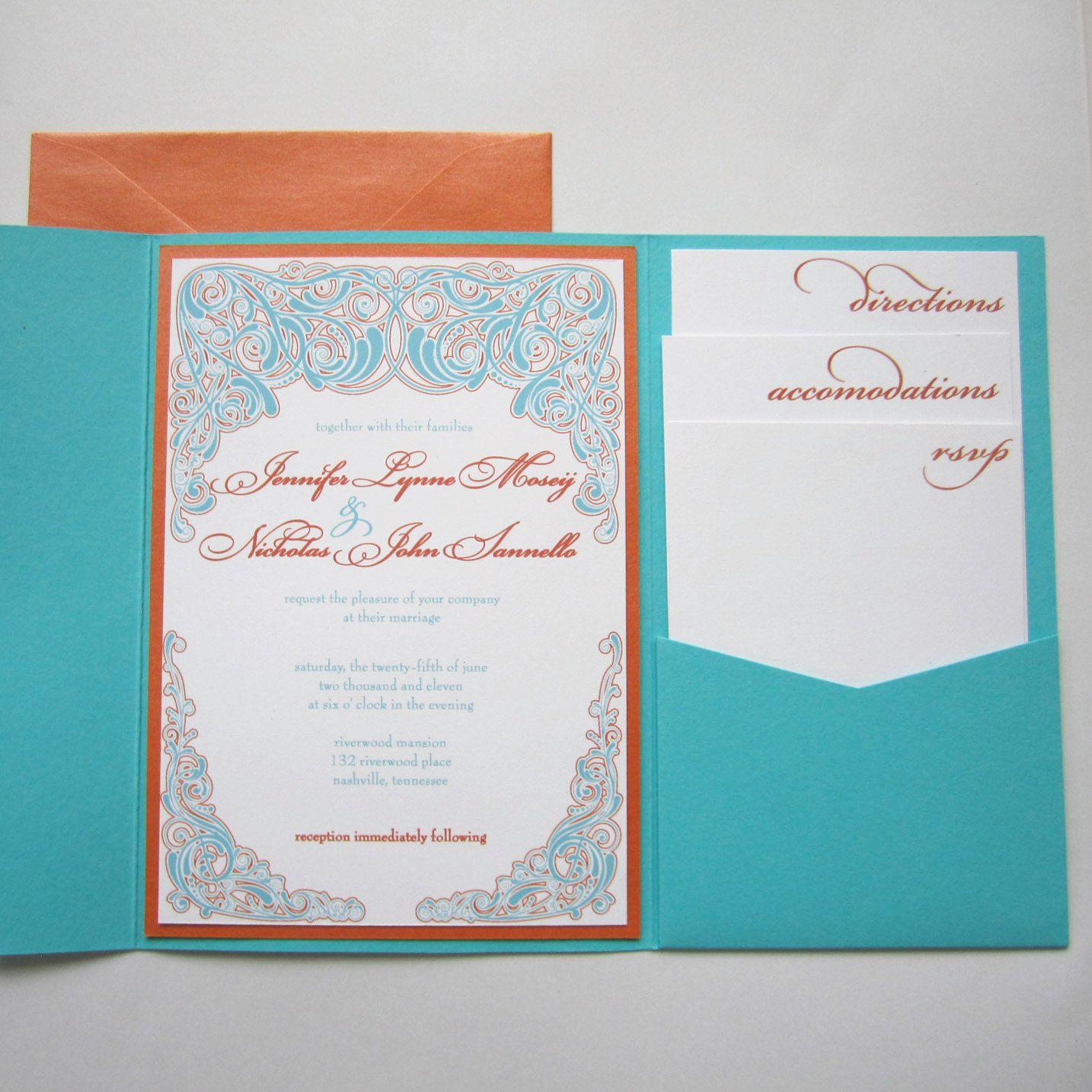 Elegant Modern Teal and Orange Pocketfold Wedding by emersonink ...