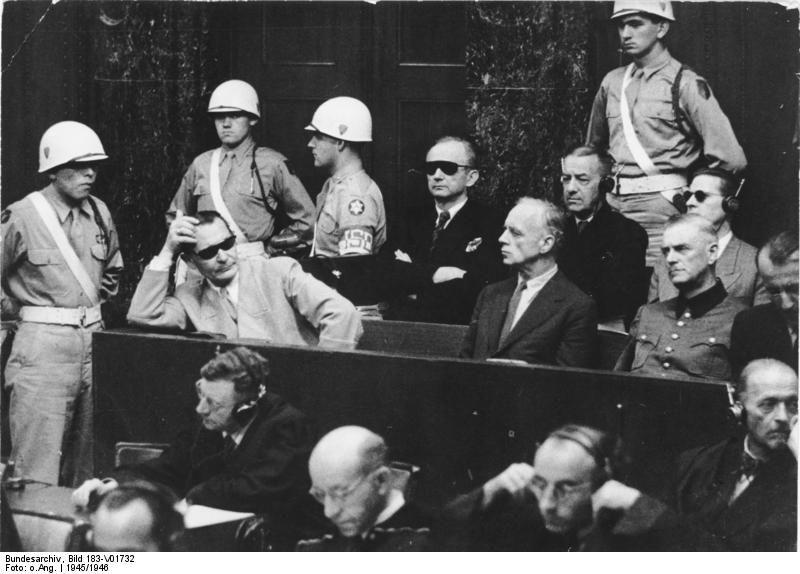 Hermann Göring, Karl Dönitz, Joachim von Ribbentrop, Erich Raeder, Wilhelm Keitel, Baldur von Schirach, and Ernst Kaltenbrunner at the Nuremberg Trial, Germany, 1945-1946