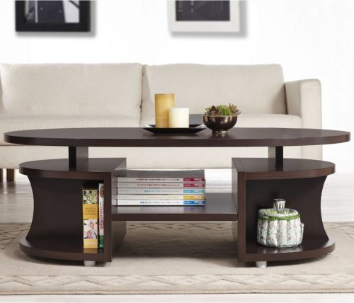 Modern Walnut Coffee Table W Shelves Cocktail Tv Table Living Room