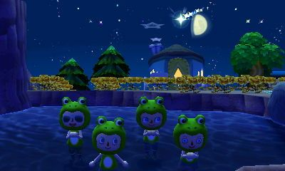 Frogs in a pond, wishing on a shooting star. #animalcrossing