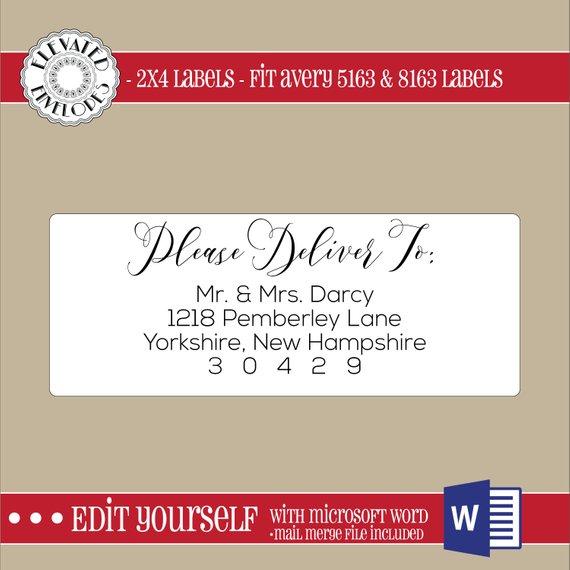 EDITABLE Christmas ADDRESS LABEL Template,2x4 Address Label
