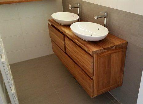 Teakhouten wastafel op maat gemaakt door wortman meubels wortman