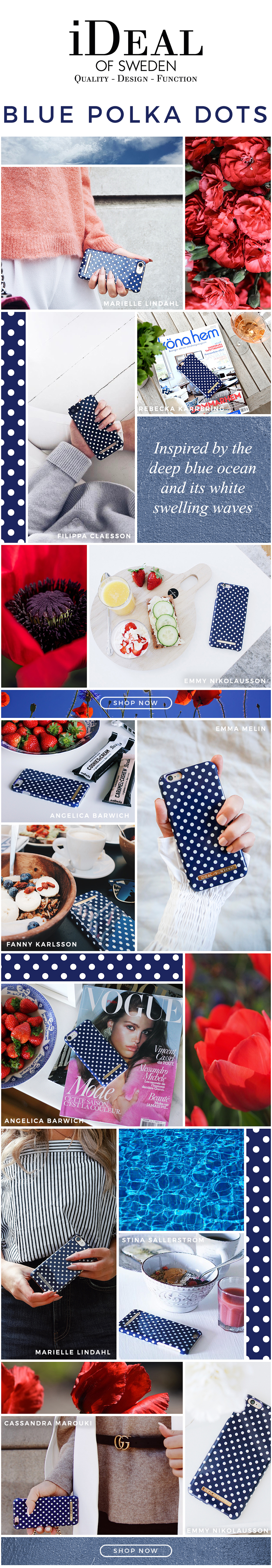 Newsletter iDeal of Sweden - Blue Polka Dots #design #layout #nyhetsbrev