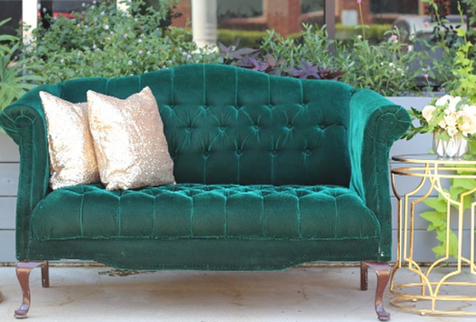 Francis emerald green loveseat STEMS Productions Furniture