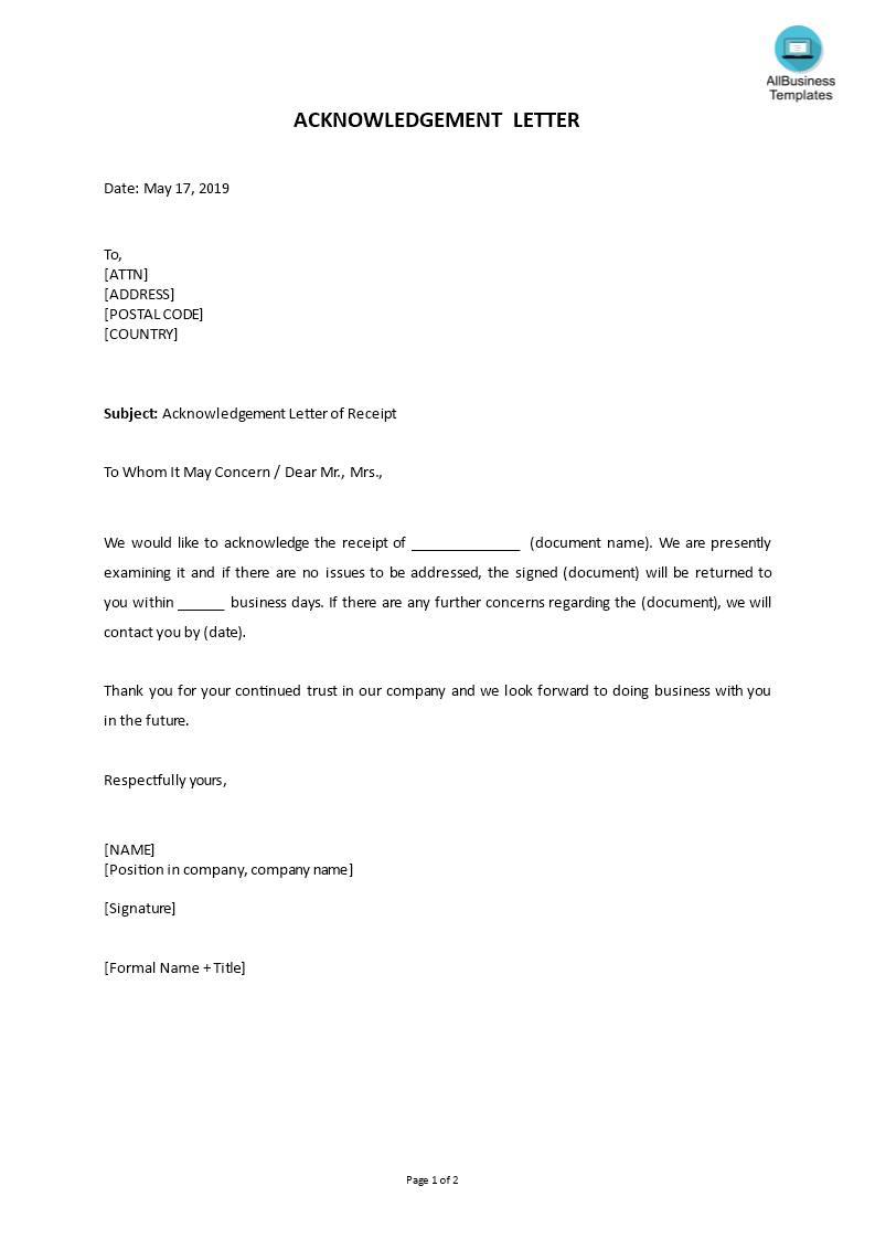 How To Write An Acknowledgement Letter An Easy Way To Start Is To Download This Sample Acknowledgment Letter Of Receipt T Receipt Template Lettering Templates