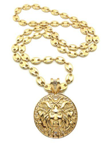aac0b8bcb New Celebrity Style MEDUSA Pendant 10mm%2636%22 Link Chain Hip Hop Necklace  RC8G