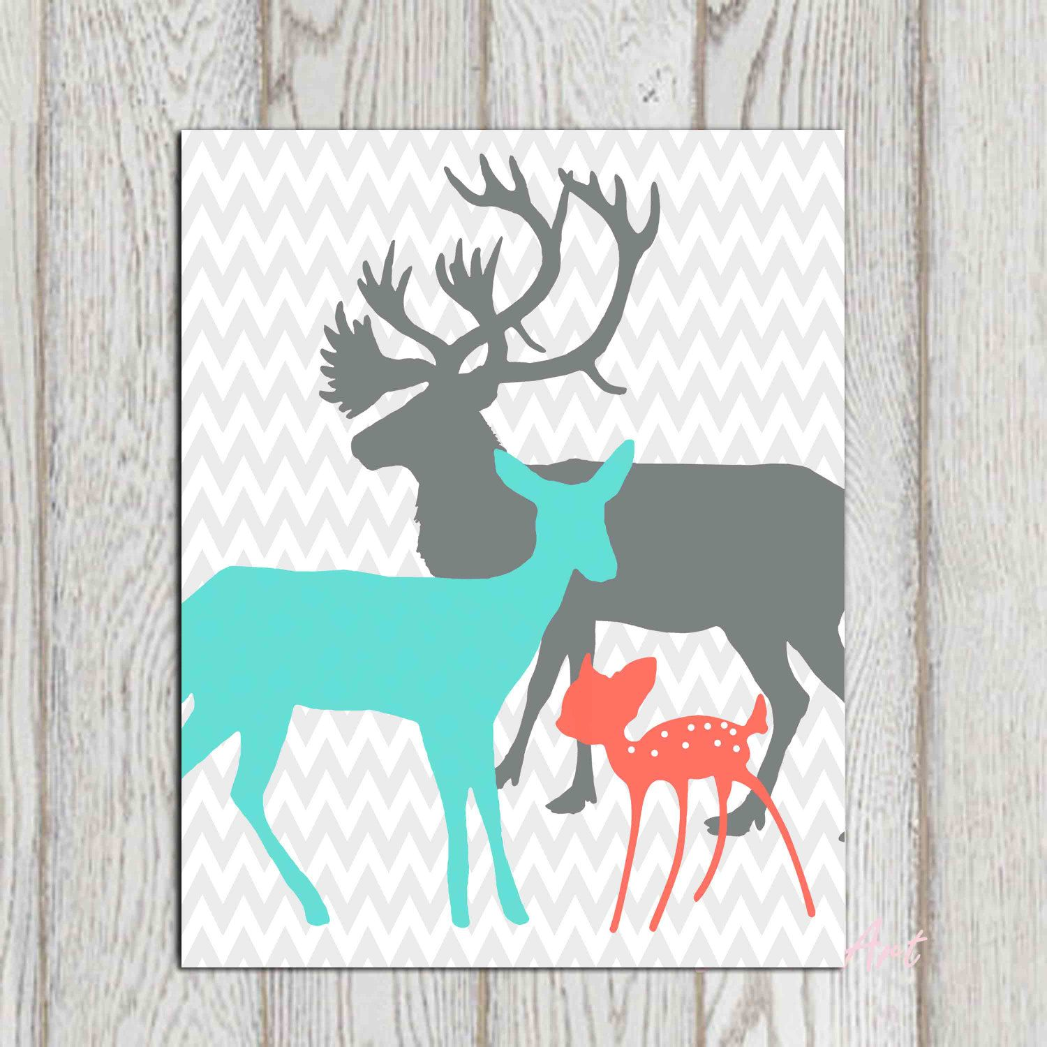 Teenage bedroom wall art - Coral Turquoise Gray Boy Girls Bedroom Decor Print Deer Family Printable Gray Chevron Nursery Wall Art Poster Baby Shower Gift Idea Download