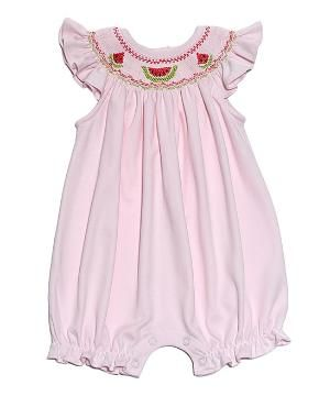 Pink Watermelon Hand-Smocked Pima Romper - Infant by Zulily