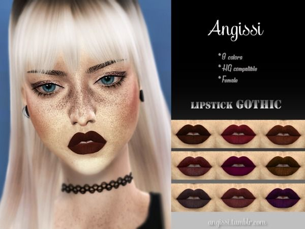 Gothic lipstick by ANGISSI for The Sims 4
