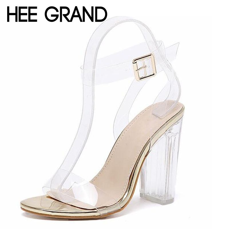 HEE GRAND Women Crystal Thick Heel Sandals Transparent Bling Fashion Jelly Summer Shoes For Woman XWZ3899
