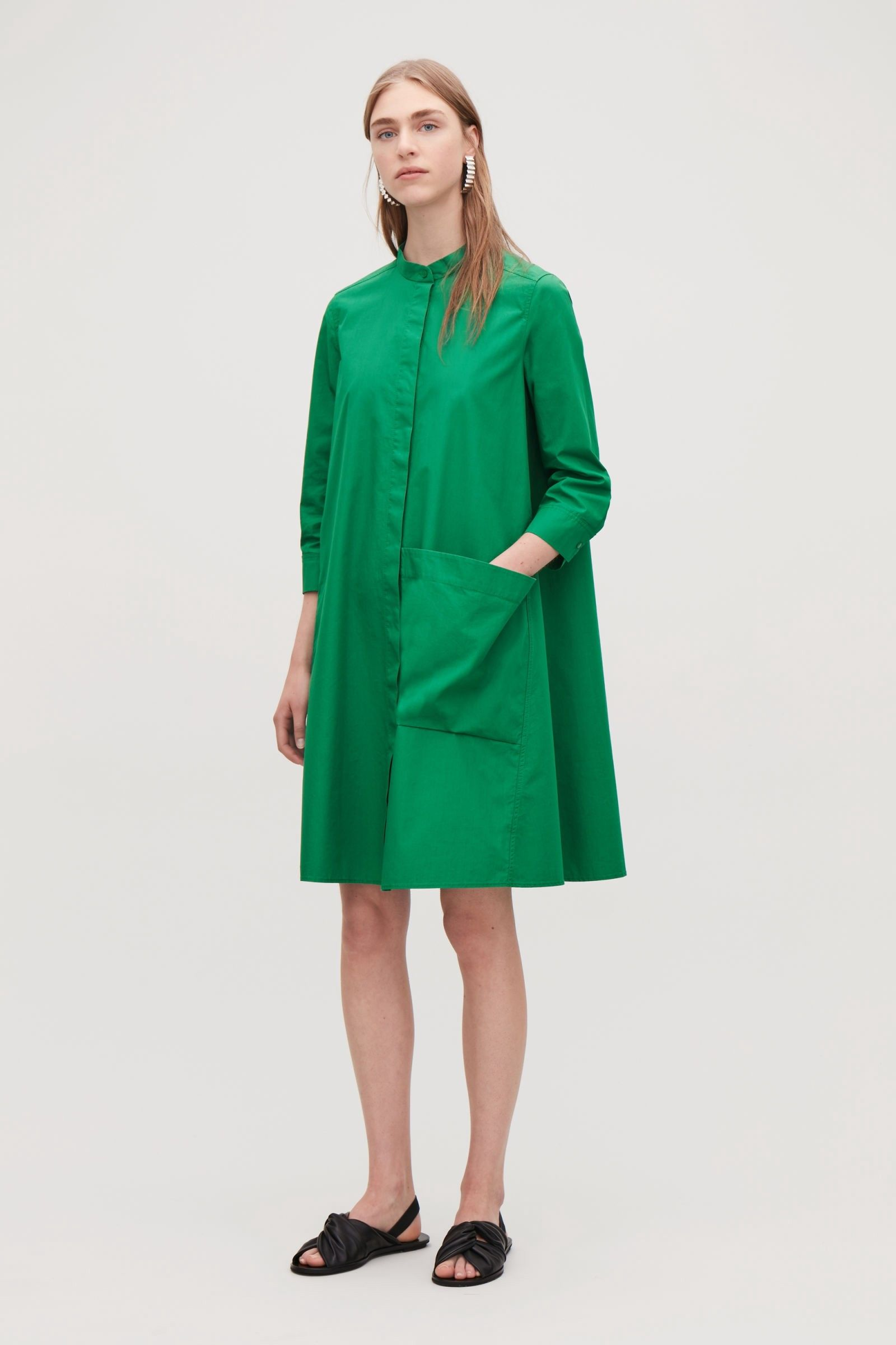 8a8647b496b48 SHIRT DRESS WITH LARGE POCKET - amazon green(OUT OF STOCK) by COS ...
