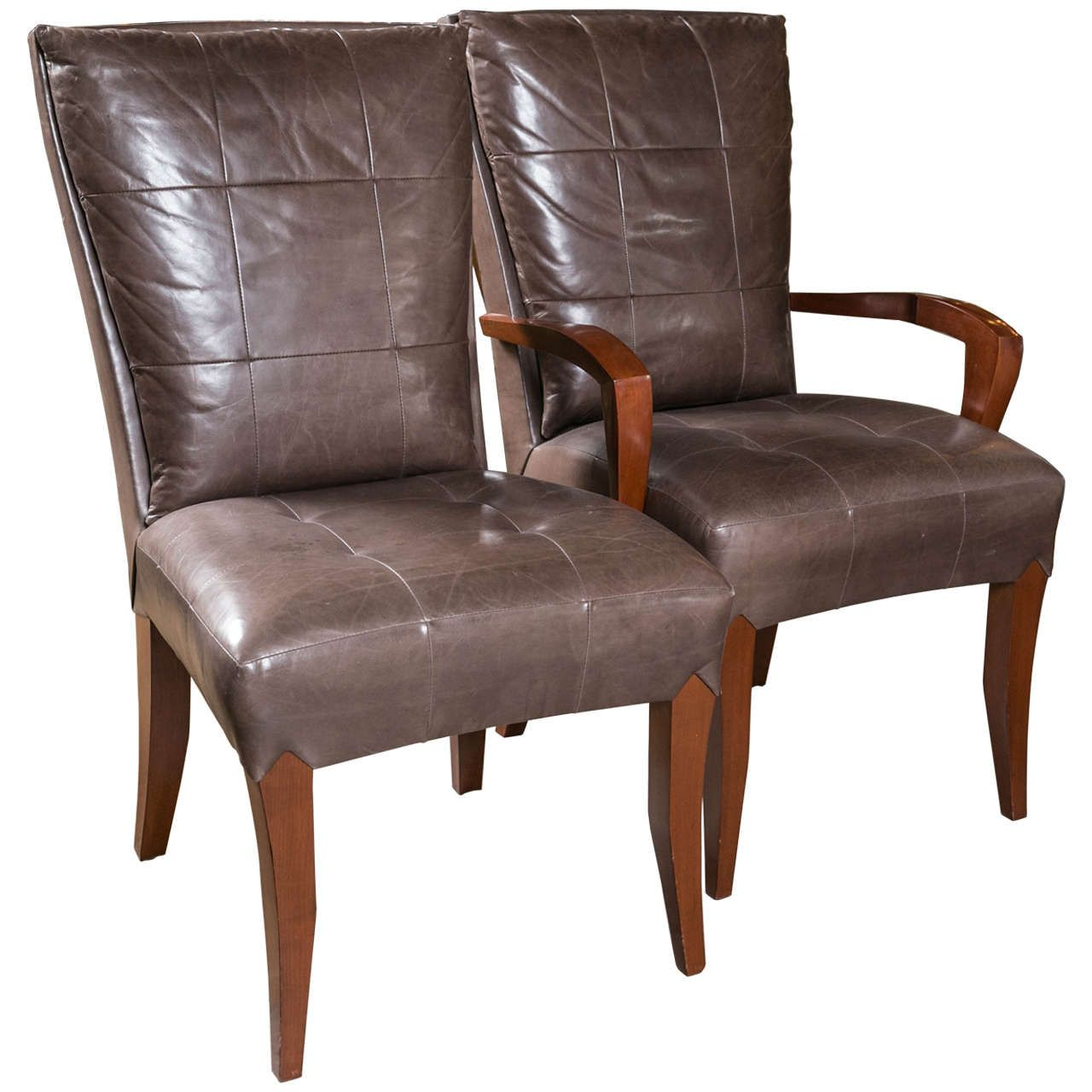 Set Of 12 Dakota Jackson Leather Mahogany Dining Chairs