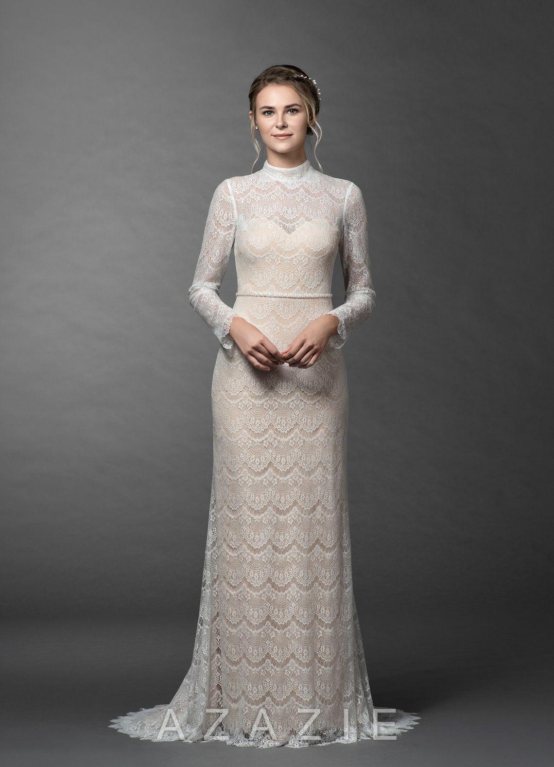 Azazie Ozette BG Wedding Dress Diamond White/Champagne