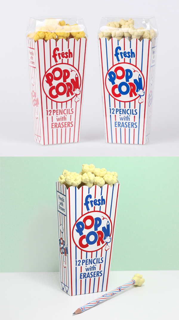 these cute popcorn pencils have popcorn shape erasers on top of each pencil and when hidden inside the popcorn case it looks like there