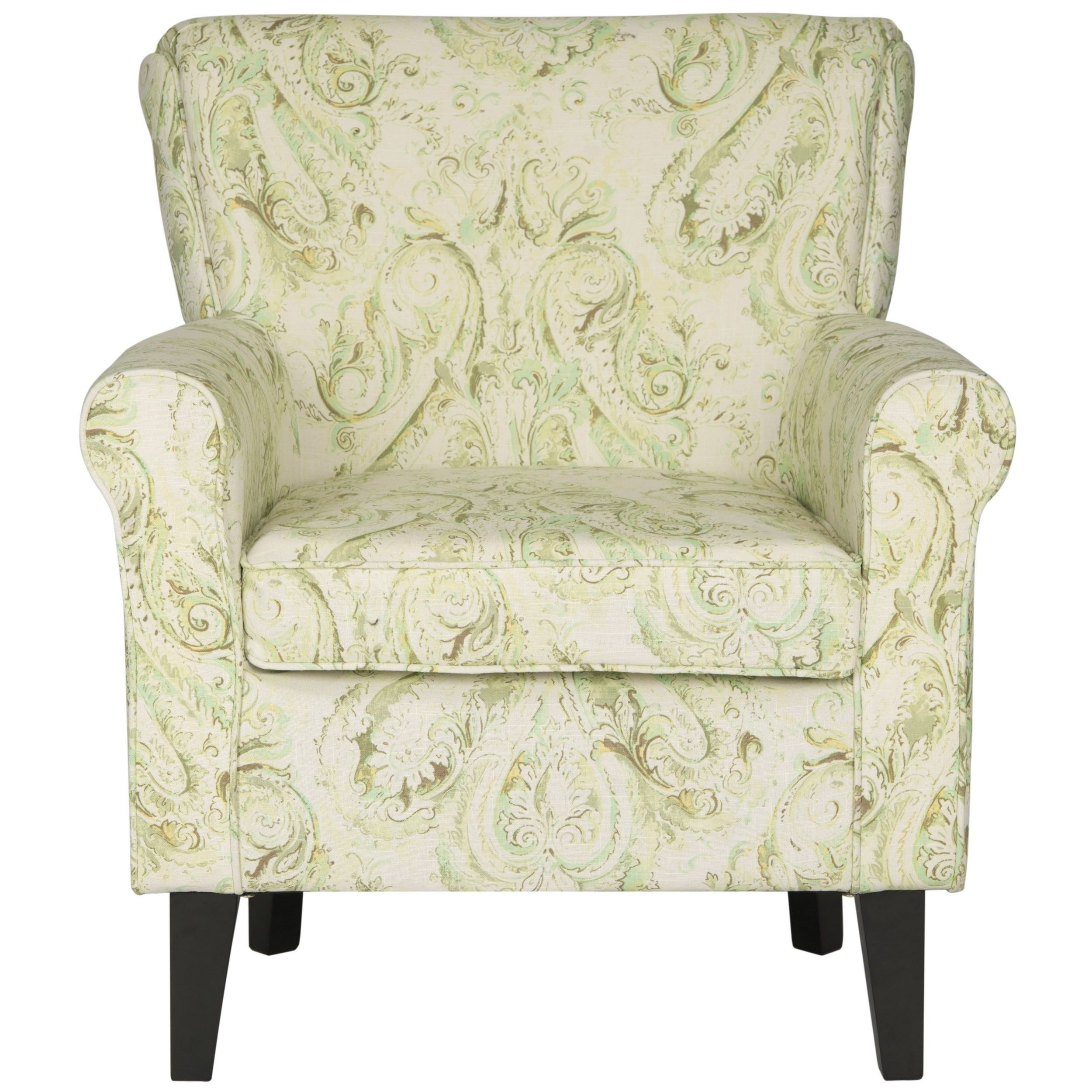 Safavieh Hazina Green Printed Paisley Rolled Back Club Chair by