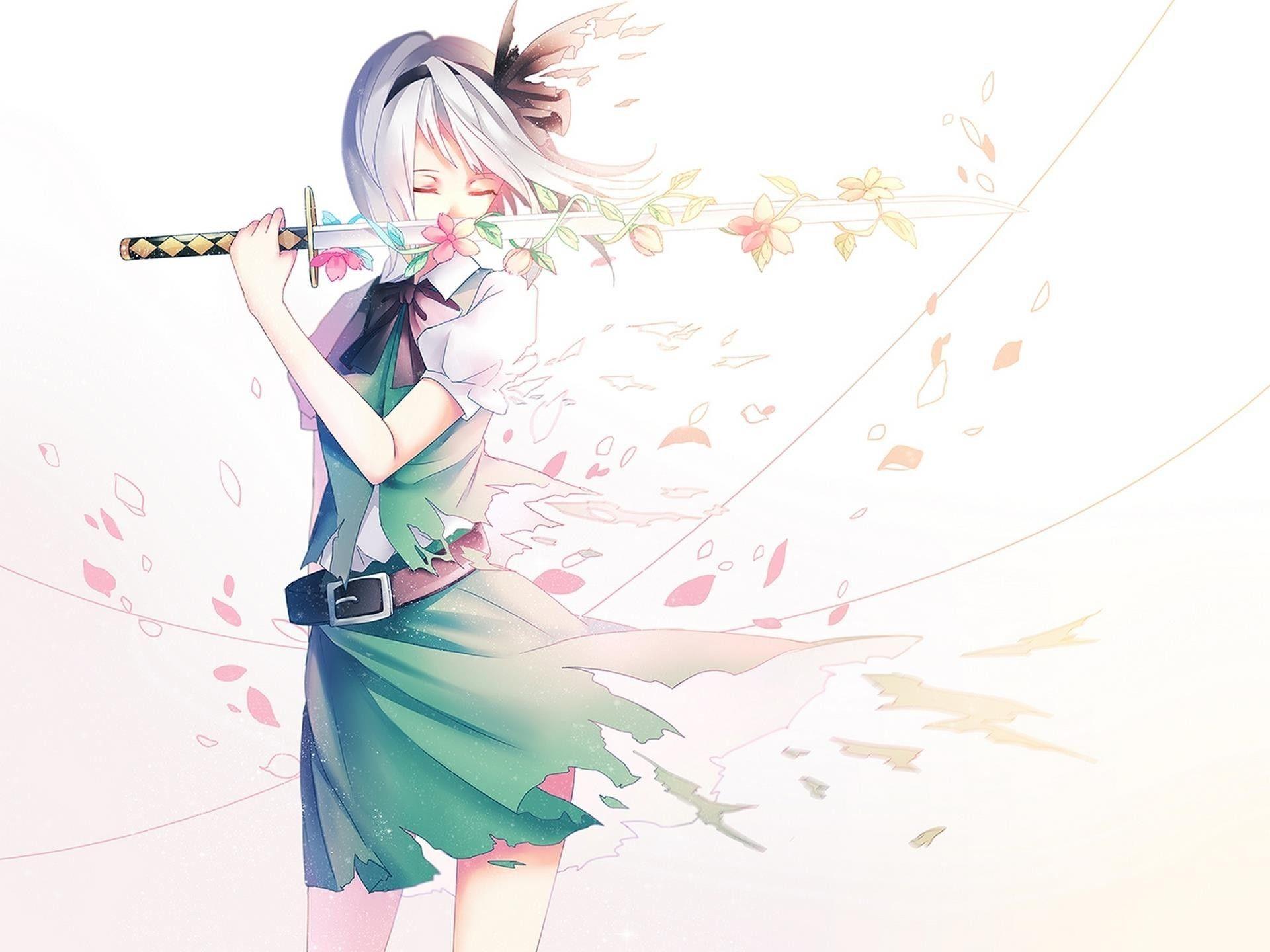 Anime girl with flower sword desktop background wallpapers - Girl with sword wallpaper ...