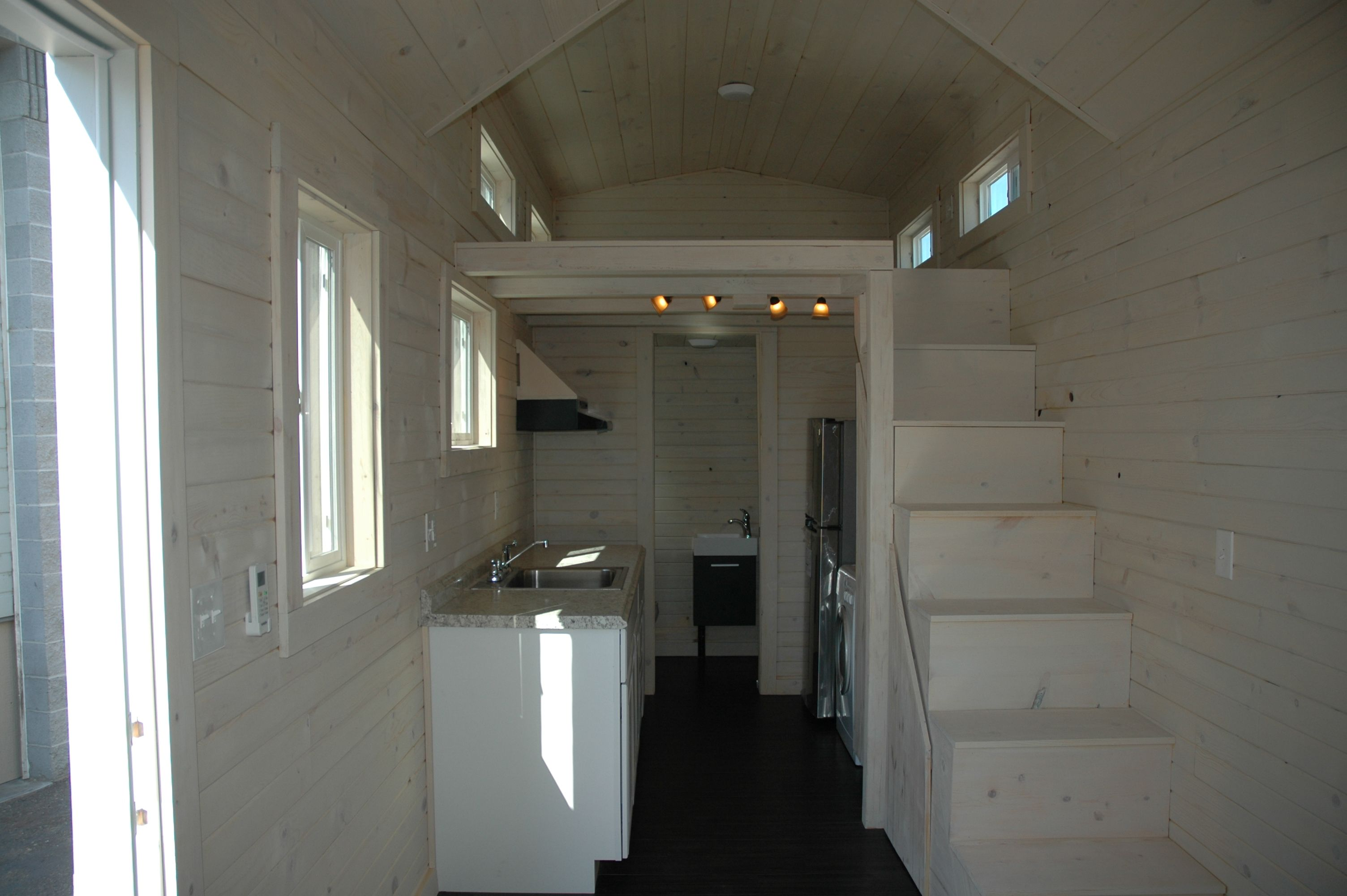 Home interior stairs natural walls loft kitchen area stairs tiny house interior of