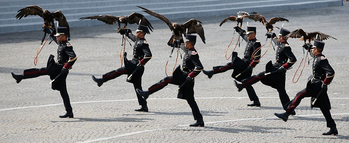 Mexican army march with Falcons to celebrate Bastille Day in Paris.