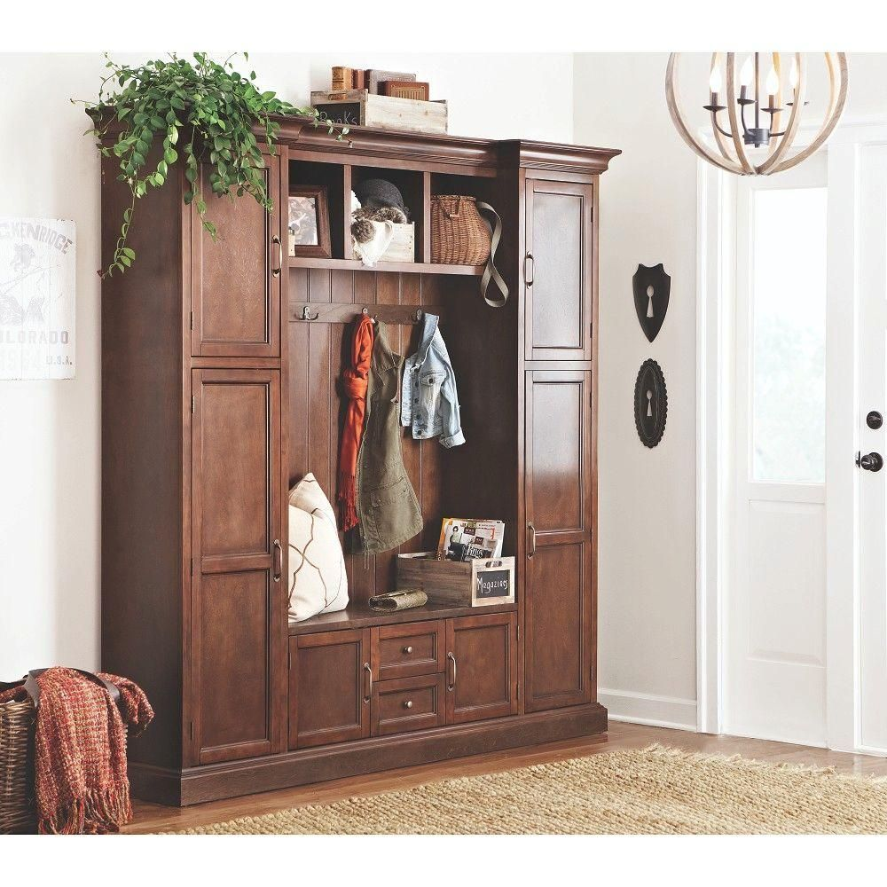Home Decorators Collection Royce 4 Hook Contemporary Wood All In One Mudroom
