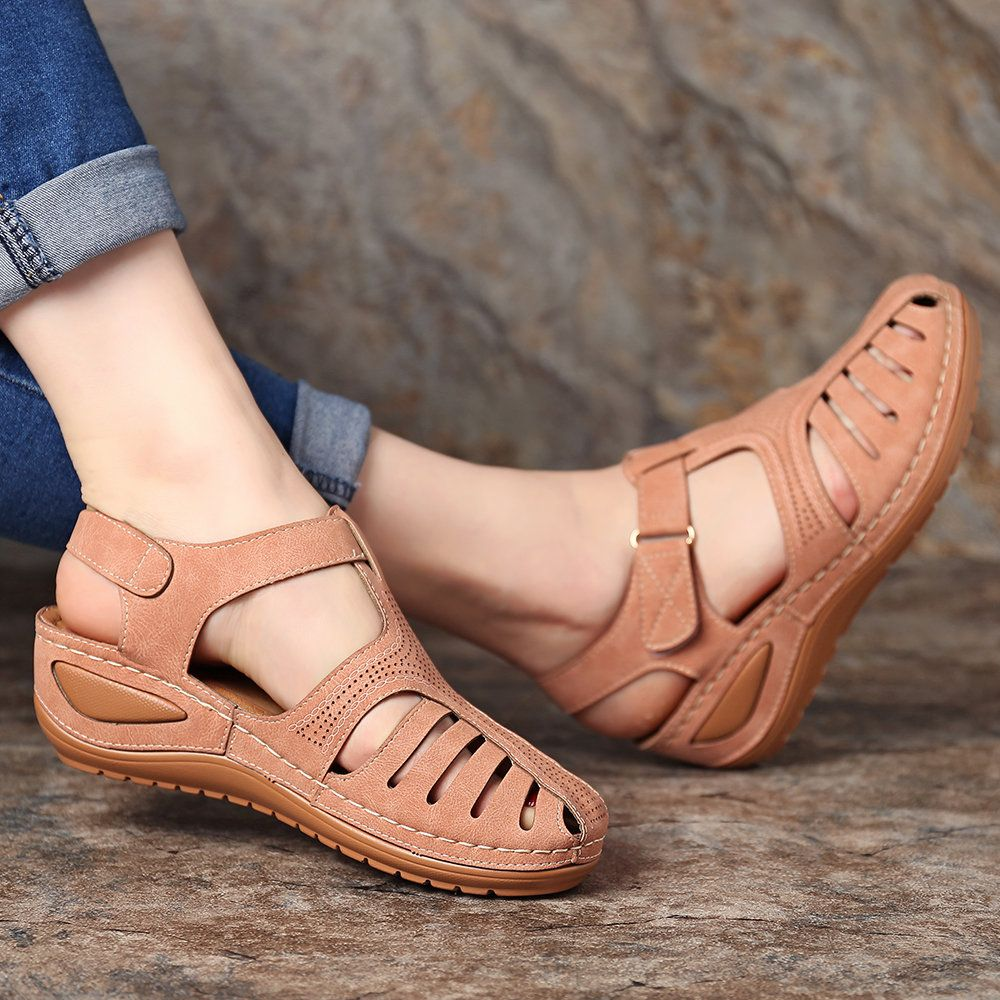 015133745 High-quality Lostisy LOSTISY Hollow Out Lightweight Pure Color Breathable  Hook Loop Wedges Sandals - NewChic Mobile