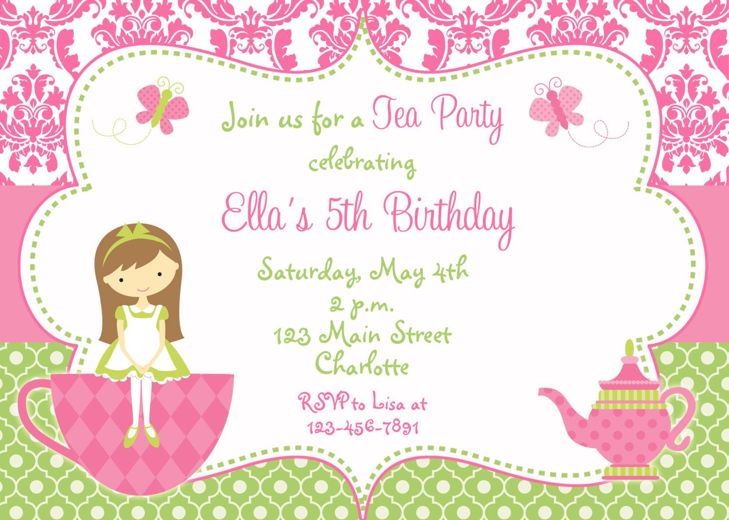 Superb image for free printable tea party invitation templates