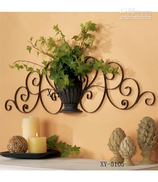 Home Decor Metal Wall Decor Iron Plant Holder | Metal Walls, Wall