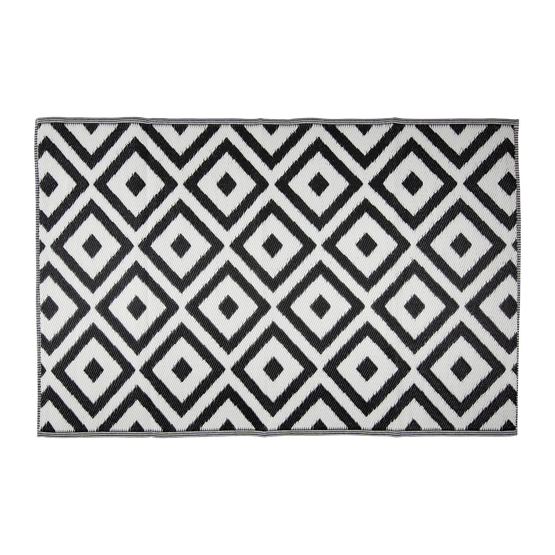 Tapis D Exterieur Geometrique Noir Blanc 180 X 120 Cm Tapis Exterieur Tapis Et Exterieur