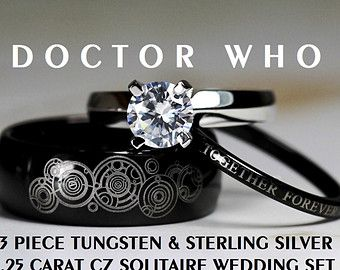 Blue Doctor Who His Tungsten And Hers 925 Sterling Silver Carat Solitaire Cz Wedding Ring Set Custom Engraved