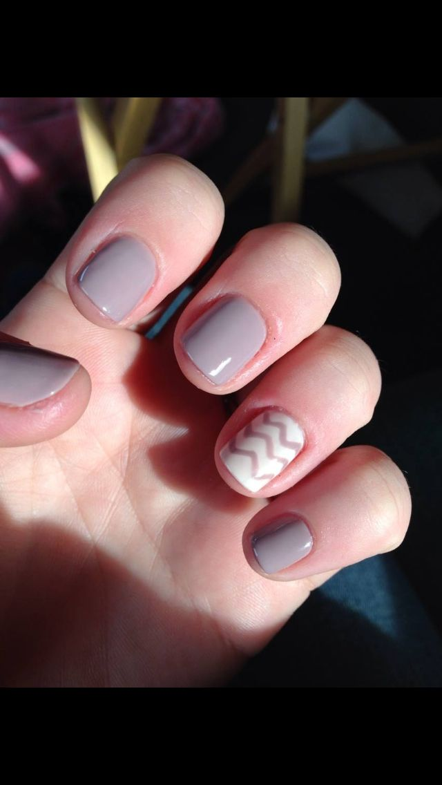 Taupe gel polish with a chevron accent #nails #nailart | Nails ...