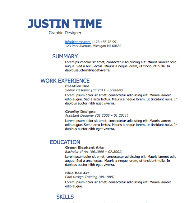 Resume Word Format Free Resume Download Splash Of Blue  Microsoft Word Format
