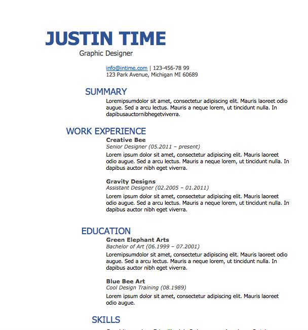 Free Resume Download Splash Of Blue