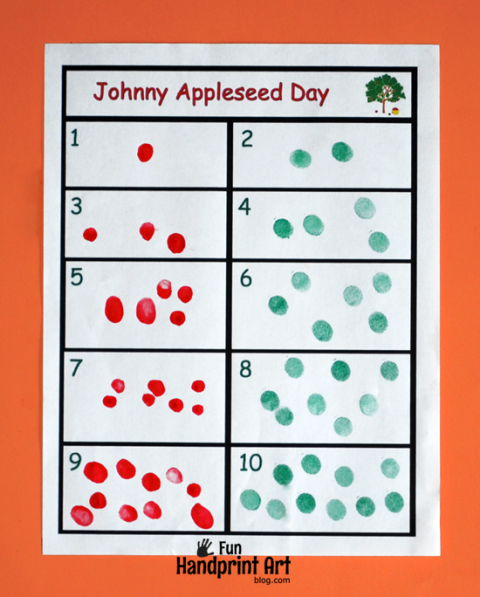 Free Printable Fingerprint Apple Counting Activity for