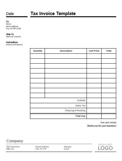 Tax Receipt Templates 10 Free Printable Excel Word Pdf