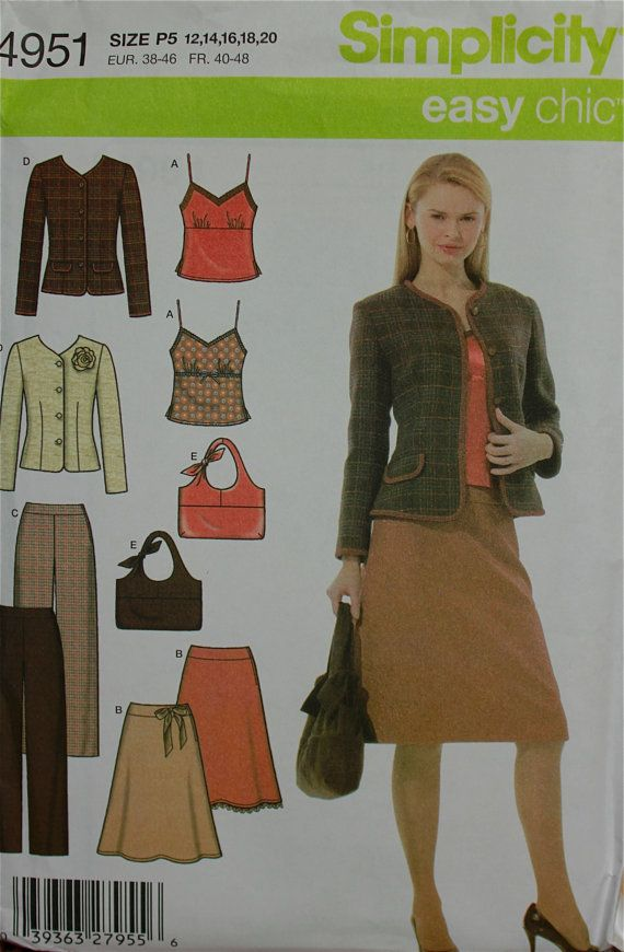 2000s Wardrobe Set Easy Chic Simplicity Pattern 4951 Uncut Sizes 12 ...
