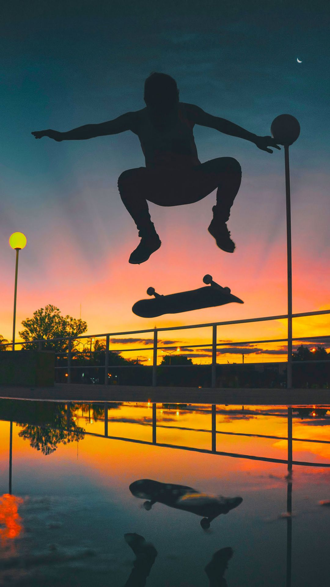 Man, skateboarding, sports, sunset, silhouette, 1080x1920