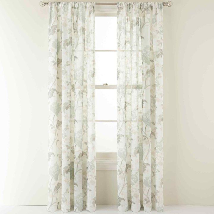 Martha Stewart Marthawindowtm Faded Floral Rod Pocket Sheer Panel