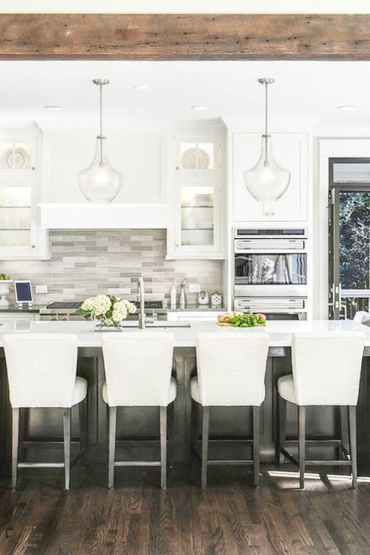 Large transitional eatin kitchen ideas Large