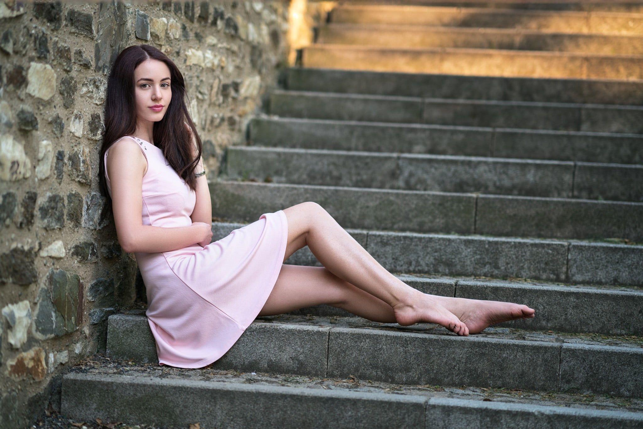 women, model, barefoot, Yury Semenov, brunette, long hair