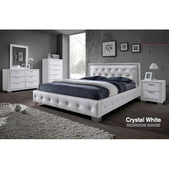 Christie Bedroom Furniture Sets In White With Diamante Design