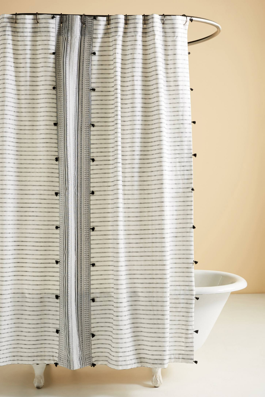 Tasseled Pendana Shower Curtain With Images Black Shower