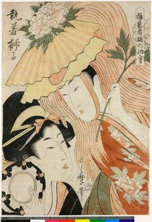 Woodblock print.Music, dance and drama. Bijinga. Lion dance, girl dressed as lion, another playing tsuzumi. Nishiki-e on paper.