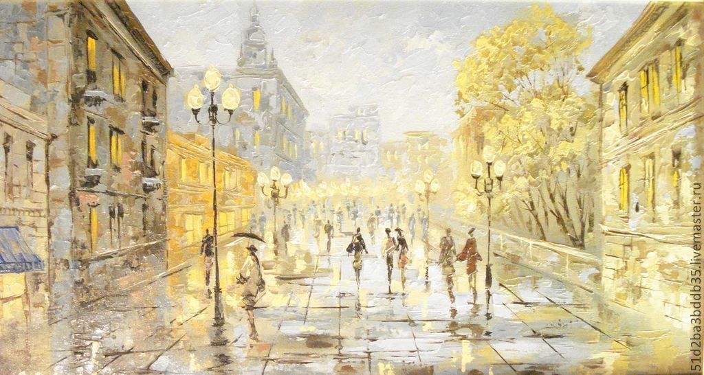 осенний город москва – заказать на Ярмарке Мастеров ...  Дождливый Город Картина