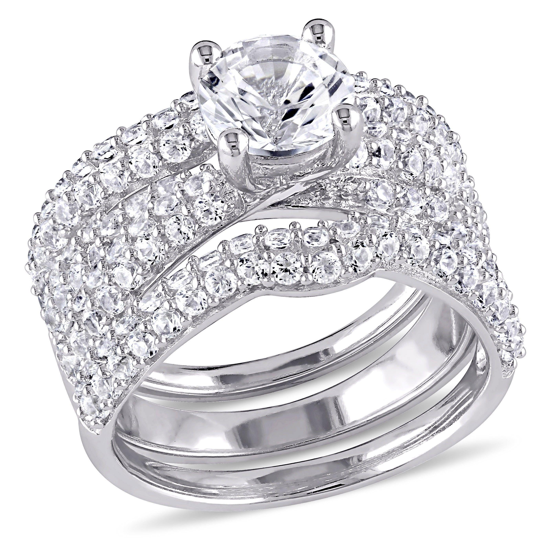 Miadora Sterling Silver Created White Sapphire 3 Piece Bridal Set