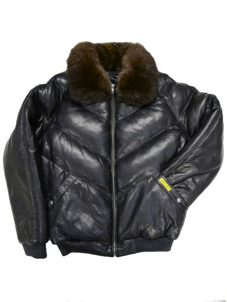 d629edd44 DOUBLE GOOSE V Bomber Leather Down Jacket | My likes | Fur fashion ...