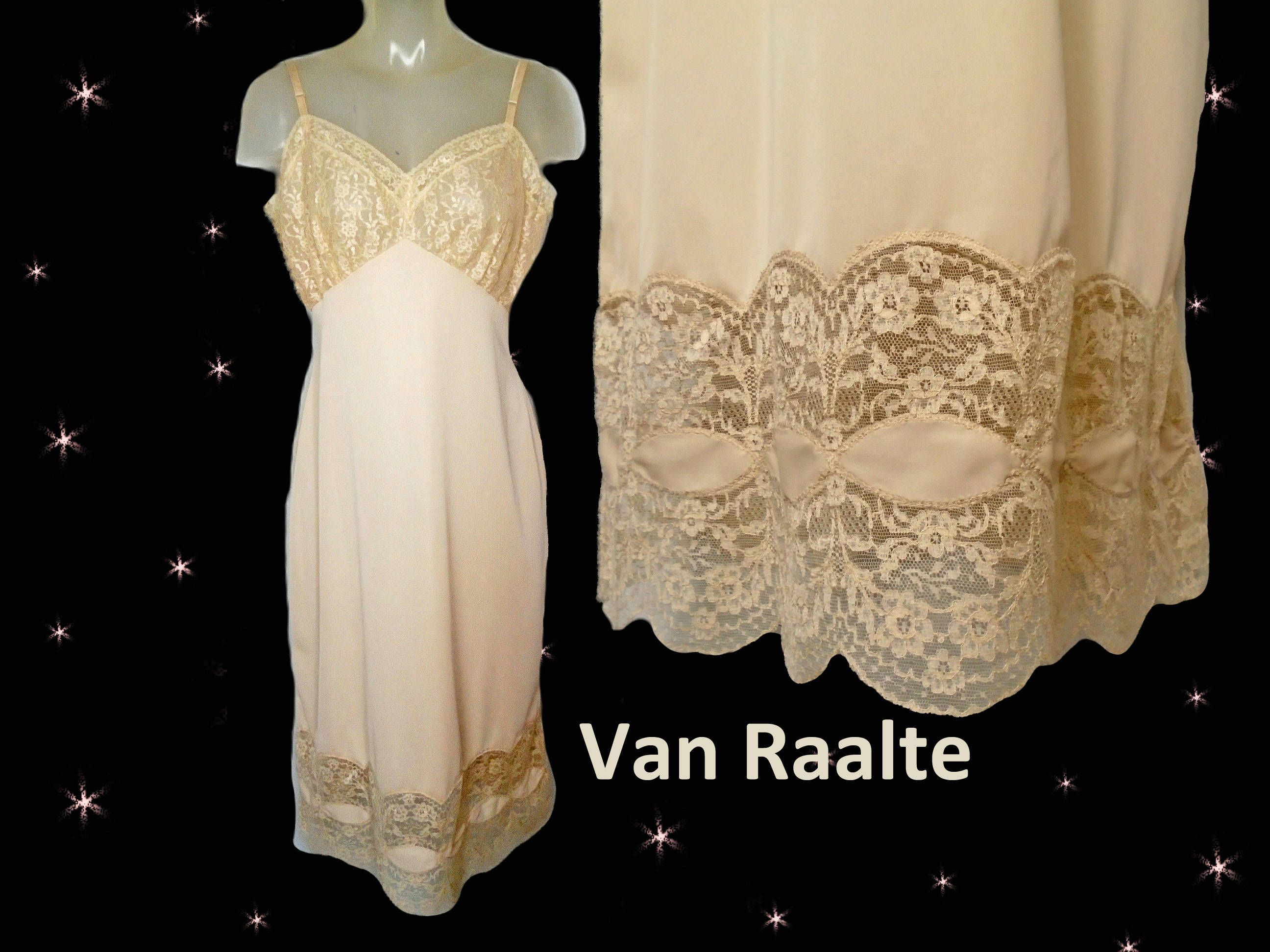 7903ea512 Vintage Beige Nylon Full Slip with Lace Womens Extravagant 1950s Van Raalte  Lingerie for Women Mid Century Slip 40-37-44 Lingerie for Wife by ...